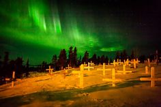 The northern lights dance above the Koyuk checkpoint on March 12, 2012  Loren Holmes photo
