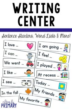 This writing center set has sentence starters and much more Set up a writing center in your kindergarten first or second grade classroom Word cards sentence starters and printables are effective writing prompts for emergent and reluctant writers Writing Lists, Sentence Writing, Writing Lessons, Teaching Writing, Opinion Writing, Persuasive Writing, Writing Ideas, Creative Writing, Teaching Ideas