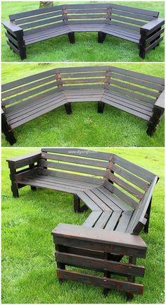 30 Eco-Friendly Ways to Recycle Wood Pallets This is a creative piece of the pallet garden round bench too. The rounded framing bench effect has [. Pallet Garden Furniture, Diy Outdoor Furniture, Pallets Garden, Wood Pallets, Diy Wood Furniture Projects, Furniture Ideas, Pallet Benches, Furniture Online, Wooden Furniture