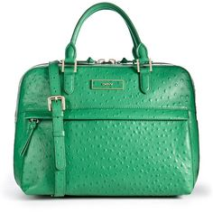 DKNY Ostrich Satchel found on Polyvore-- not into the skin (yuck) but LOVE the color!