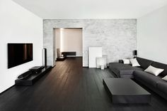 Modern minimalism style living room with dark brown hardwood floors