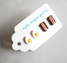 Earrings Bacon and Eggs handmade polymer clay button stud post earrings ( 4 )