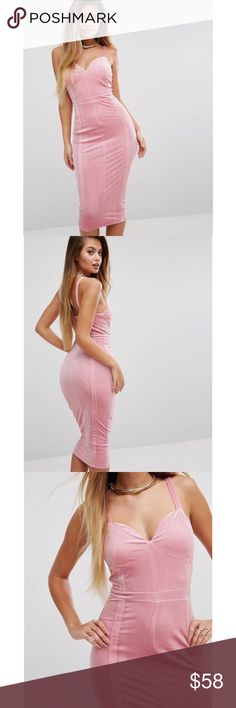 ASOS Pink Velvet Midi Tank Dress Brand new with tags! ASOS pink velvet midi tank dress. Super hot! Form fitting, super stretchy with 95% polyester and 5% elastane. Size US 8. Hidden back zip closure. ❌NO TRADES❌NO LOWBALLING❌ ASOS Dresses Midi
