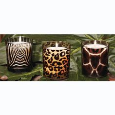 """6 Cheetah, Zebra and Giraffe Glass Votive Candles 3.5"""" - Jungle Night Scented by CC Home Furnishings, http://www.amazon.com/dp/B007OVCZI8/ref=cm_sw_r_pi_dp_MYSCrb07VN635/183-7577255-9282451"""