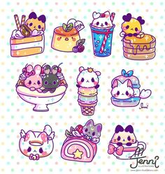 (notitle) - Print outs for my room - Gatos Cute Food Drawings, Cute Animal Drawings Kawaii, Cute Kawaii Animals, Pokémon Kawaii, Kawaii Anime, Kawaii Doodles, Cute Doodles, Cute Food Art, Cute Art