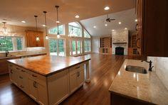 Kitchen,Hardwood Island, Kitchen island, Open Floor Plan, Quartz Countertop, Custom Builder, Winchester VA