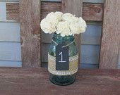 6 Chalkboard mason jars wedding centerpiece table tags. $12.50, via Etsy.