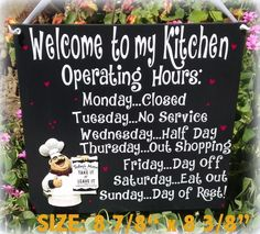 FAT CHEF ITALIAN SIGN WELCOME OPERATING HOURS KITCHEN BISTRO CUCINA WALL DECOR #ALLHANDCRAFTED #FATCHEFOPERATINGHOURS