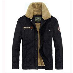 Thick Warm Velvet Plus Men Fashion Casual Jacket Parkas