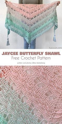Below are some patterns inspired by butterfly gorgeous forms and hues. One Skein Crochet, Crochet Shawl Free, Crochet Gratis, Crochet Shawls And Wraps, Basic Crochet Stitches, Crochet Scarves, Double Crochet, Crochet Hooks, Crochet Vests