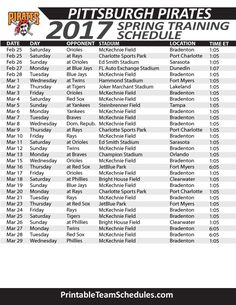 picture about Pittsburgh Pirates Printable Schedule identified as 60 Great MLB Basbeball Program 2017 pics Playoff