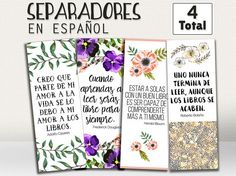Bookmark in spanish, book divider, bookmarker, in spanish, printable bookmark in spanish, books, book, book accessories, set of bookmarks