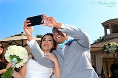 San Diego wedding photographer, Los Willows bride and groom selfie right after the ceremony