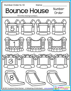 Bounce houses are so much fun and on this page there are so many of them! Your kids can bounce from one to the next and fill in the missing numbers to 10. You can bounce on over and check out this awesome set of 50 Summer Counting Worksheets for Kindergarten! Counting Worksheets For Kindergarten, Graphing Worksheets, Alphabet Tracing Worksheets, Number Worksheets, Upper And Lowercase Letters, Lower Case Letters, Bounce Houses, Counting For Kids, Number Tracing