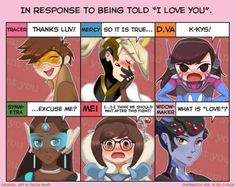 Overwatch girl in response to 'I love you'