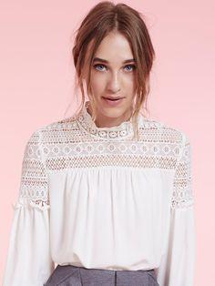Dahlia Simone White Peasant Blouse with Lace Shoulder Detail | Dahlia