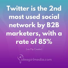 Kinda seems like somewhere to be, eh?  Twitter is the 2nd most used social network by B2B marketers, with a rate of 85%.  (stat via Flip Creator)
