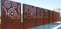 Home And Furniture: Unique Decorative Metal Screens Of Urban Design Systems Laser Cut Privacy Screening Garden Corten Steel Decorative Metal Screens - Aliciajuarrero Privacy Fence Panels, Garden Fence Panels, Privacy Walls, Laser Cut Screens, Laser Cut Panels, Tor Design, Fence Design, Decorative Metal Screen, Weathering Steel