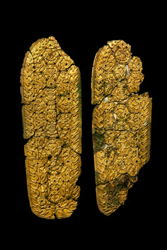 Pair of shoe soles. Possibly China, Northern Wei dynasty, or Korea, Silla kingdom, 5th century. Excavated from Singnichong Tomb. Glit bronze; L. 13 3/4 in (35 cm). National Museum of Korea, Part of an exhibition called Silla: Korea's Golden Kingdom November 4, 2013-February 23, 2014
