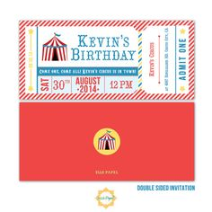 Printable Invitation Kid's Circus Theme Ticket by EllePapel