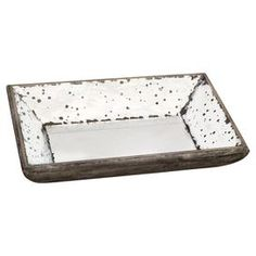 """Perfect for displaying clementines or fresh-picked lilacs, this mirrored wood tray adds a touch of stylish appeal to your foyer credenza or living room mantel.       Product: Tray   Construction Material: Mirrored glass and engineered wood Color: White  Features: Distressed finish  Dimensions: 5"""" H x 16"""" W x 12"""" D"""
