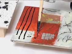 The magic of using India ink directly on the encaustic surfaceThis image is from the workshop Encaustic With a Textile Sensibility by Daniella Woolf, available through Galli Publishing.