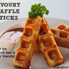 Savoury Waffle Sticks - perfect for the school lunch box or party 'finger' food! Waffle Stick Pan Recipe, Waffle Sticks, Waffle Recipes, Baby Food Recipes, Cooking Recipes, Kid Recipes, Waffle Pan, Pancake Recipes, Crepe Recipes