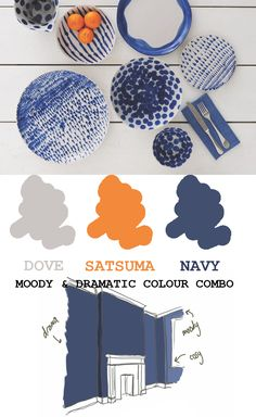 Navy and orange colour scheme palette. Grey with blue and Satsuma, tangerine orange colour. Bold, moody and vibrant