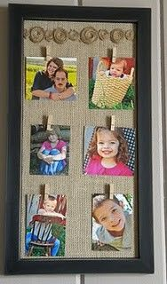 "DIY Burlap Picture Frame Idea...paint an old large frame whatever color you choose, glue burlap to the cardboard backing, glue mini craft clothespins to the burlap, and ""pin"" your pictures to the board!  So easy and so creative.  Can change pictures whenever you desire.  Instructions included."
