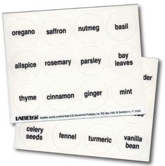 If buying spice jars to organize your spices get these Round Spice Labels @ Amazon already printed $3.50