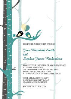 teal and gray lovebirds free wedding invitation