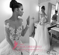 Elihav Sasson Bridal 2016 A-Line Wedding Dresses Jewel Illusion Bodice Long Sleeve Appliques Pearls Vintage Garden Beach Bridal Gowns Wedding Dresses Beach Bridal Gowns Garden Vintage Wedding Gown Online with 146.0/Piece on Magicdress2011's Store | DHgate.com