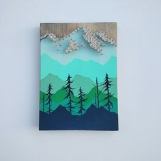Hand Painted Ombre Mountain Scene with Mountain String Art, Etsy. Mountain Decor | Mountain String Art | Ombre
