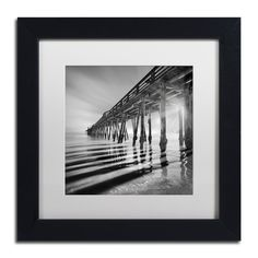 Moises Levy 'Pier and Shadows' White Matte, Framed Canvas Wall Art