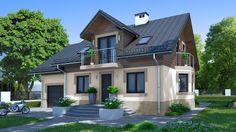 Ten ekonomiczny dom z użytkowym poddaszem zaprojektowaliśmy dbając o środowisko i kieszeń każdego inwestora podczas budowy. Pool Houses, Home Fashion, Malm, House Colors, Exterior Design, Modern Architecture, Sweet Home, Construction, House Design