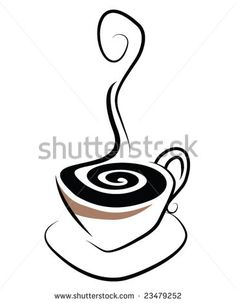 Simple stylistic illustration of a steaming cup of coffee