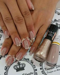 Maybe you have found your nails lack of some trendy nail art? Yes, lately, many girls personalize their nails with lovely … Nail Manicure, Gel Nails, Nail Polish, Acrylic Nails, Trendy Nail Art, Stylish Nails, Fancy Nails, Bling Nails, French Nail Designs