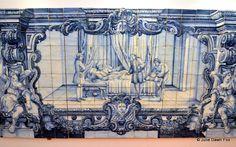 Hand-painted azulejo depicting a fable at São Vicente da Fora monastery, Lisbon, Portugal