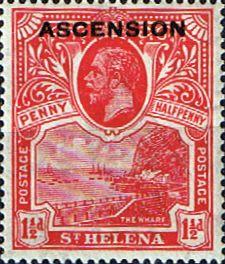 Ascension Islands Stamps 1922 King George Overprints SG 3 Fine Mint Scott 3 Other Ascension Island Stamps HERE