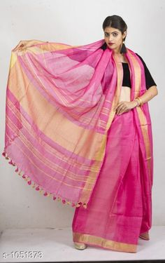 Sarees Attractive Linen Saree  *Fabric* Saree - Linen, Blouse - Linen  *Size* Saree Length With Running Blouse - 6.3 Mtr  *Work* Handloom Work  *Sizes Available* Free Size *   Catalog Rating: ★3.9 (149)  Catalog Name: Aaryahi Solid Linen Sarees with Tassels and Latkans CatalogID_128043 C74-SC1004 Code: 578-1051373-