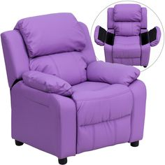 Flash Furniture Deluxe Padded Contemporary Lavender Vinyl Kids Recliner with Storage Arms [BT-7985-KID-LAV-GG]