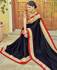 Black Satin Silk Saree ,Indian Dresses - 1