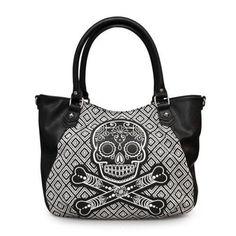 Loungefly Black & White Tweed Purse Sugar Skull Crossbody Bag Handbag