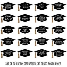 Funny Graduation Caps - Gold - 20 Piece Graduation Party Photo Booth Props Kit | BigDotOfHappiness.com