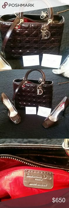 Dior lady bag medium Inspired dior lady bag used.in brown color come with staple and cards.clean and in very goid condition. Willing to accept reasonable offers.no low balling Bags Shoulder Bags