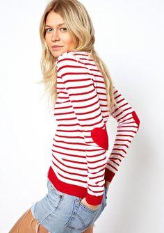 Jersey rayas con parche en codos-Rojo y blanco EUR€16.89