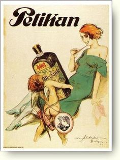 GIANT VINTAGE GERMAN PELIKAN INK ART POSTER, 1921.
