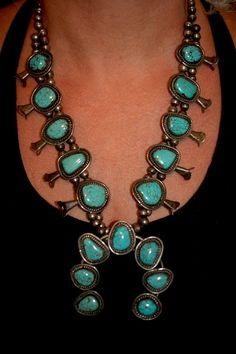 Vintage Navajo Squash Blossom Number Eight Mine Turquoise Necklace on Etsy, $1,280.00