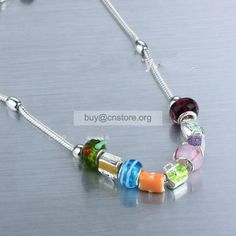 #Pandora Sterling Silver Plated Resin Coated and Coloured Glaze Bead #Necklace with #Charms Canada