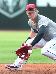Cleveland Indians Josh Donaldson, taking grounders during batting practice before the game against the Kansas City Royals at Progressive Field. September (Chuck Crow/The Plain Dealer). Baseball Playoffs, Baseball Scores, Baseball Helmet, Royals Baseball, Baseball Uniforms, Baseball Pants, Baseball Jerseys, Baseball Boys, Basketball Leagues